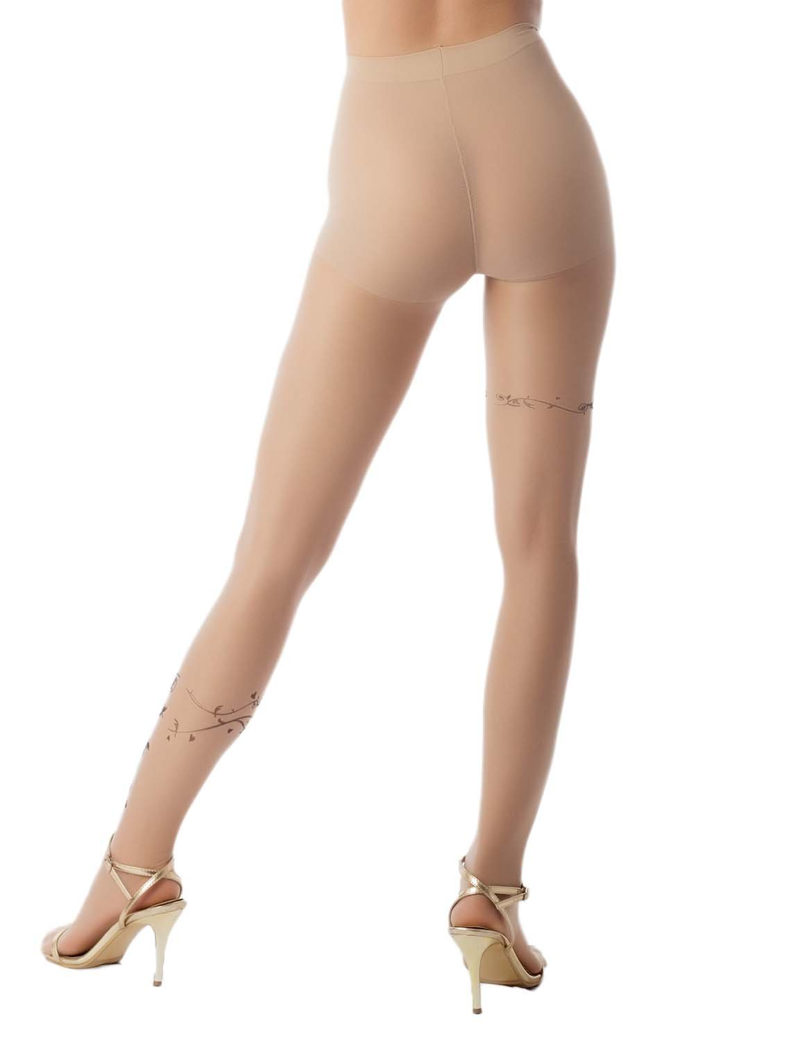 Women's Flower Vine Print Tights Soft 5 DEN Ultra Sheer Tights Pantyhose, Size: One Size, Beige