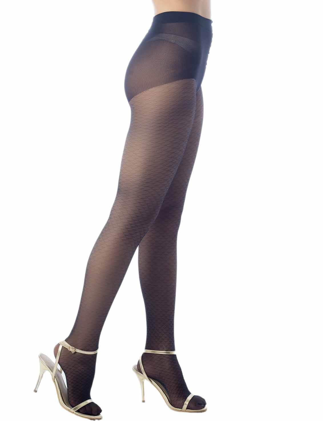 Women's Fish Scale Sheers Leg Darkened 5 DEN Ultra Sheer Tights Pantyhose, Size: One Size, Black