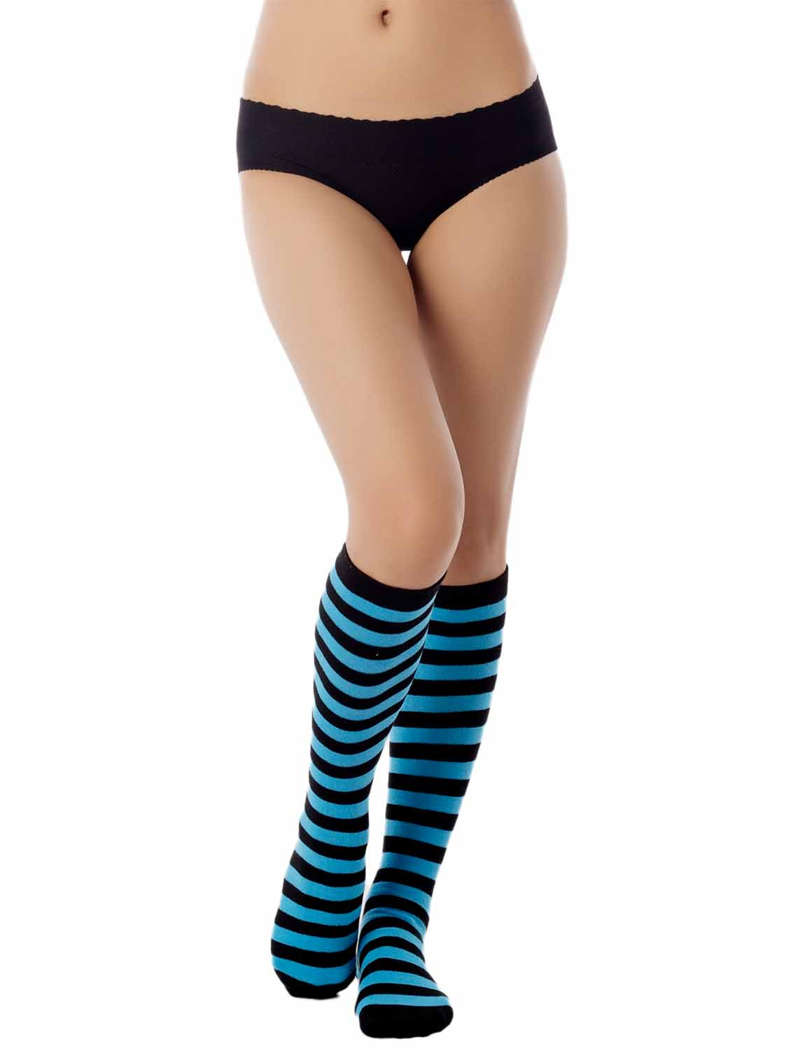 Women's Sports Football Style Zebra Stripe Long Stocking Knee High  Socks, Size: One Size, Turquoise