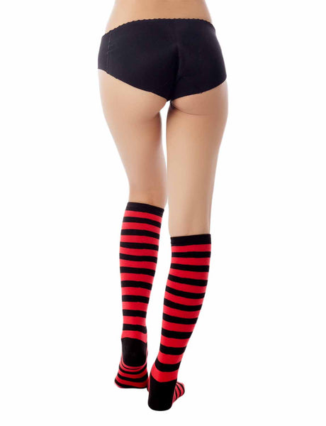 Women's Sports Football Style Zebra Stripe Long Stocking Knee High  Socks, Size: One Size, Red