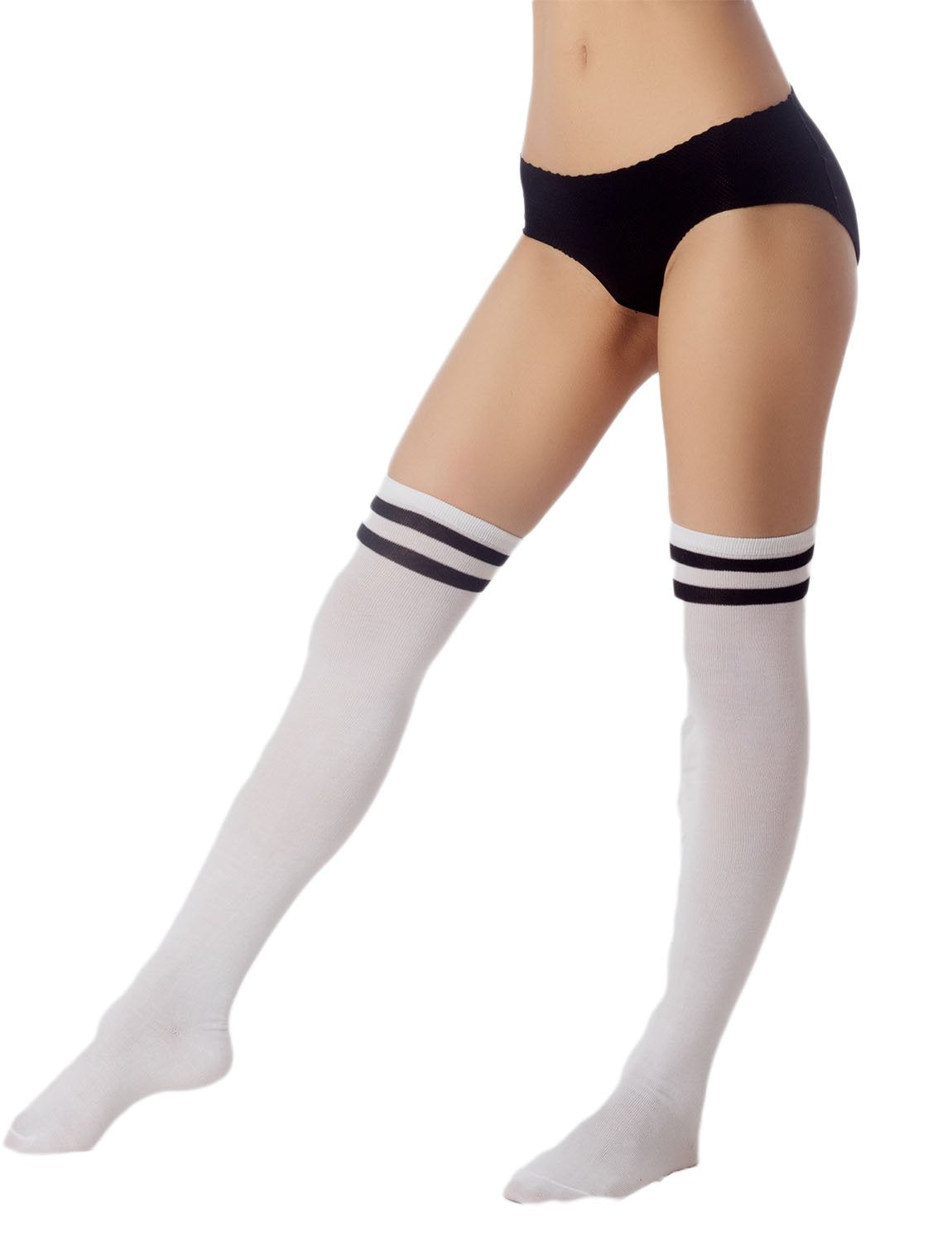 Women's Navy Stripes Sports Football Style Cute Hold-Up Thigh High Socks, Size: One Size, White & Mu