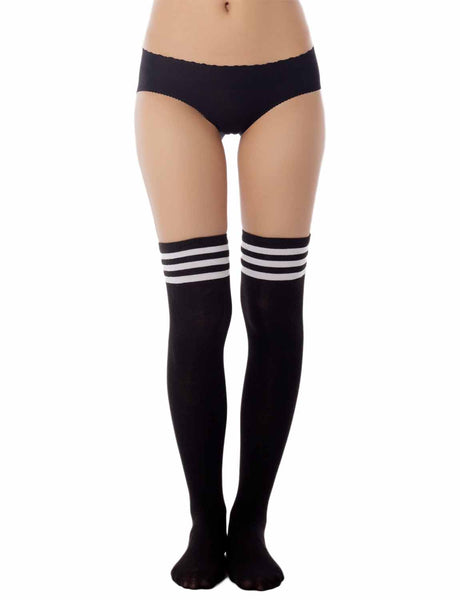 Women's Navy Stripes Sports Football Style Cute Hold-Up Thigh High Socks, Size: One Size, Black