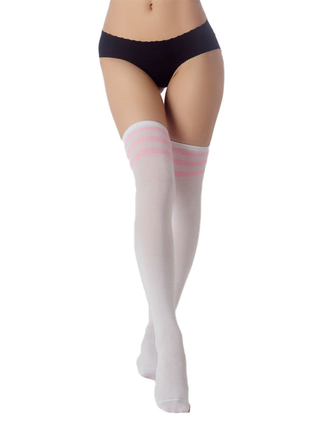Women's Navy Stripes Sports Football Style Cute Hold-Up Thigh High Socks, Size: One Size, White & Li
