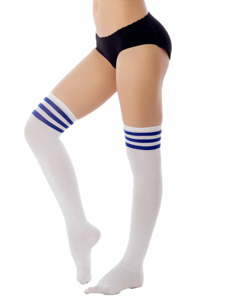 Women's Navy Stripes Sports Football Style Cute Hold-Up Thigh High Socks, Size: One Size, Royal