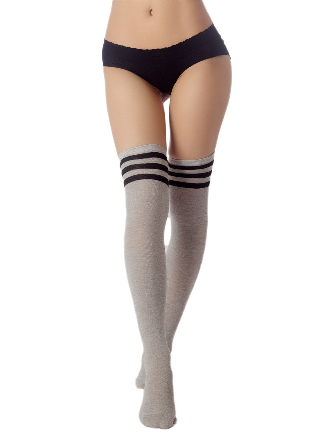 Women's Navy Stripes Sports Football Style Cute Hold-Up Thigh High Socks, Size: One Size, Light Cool