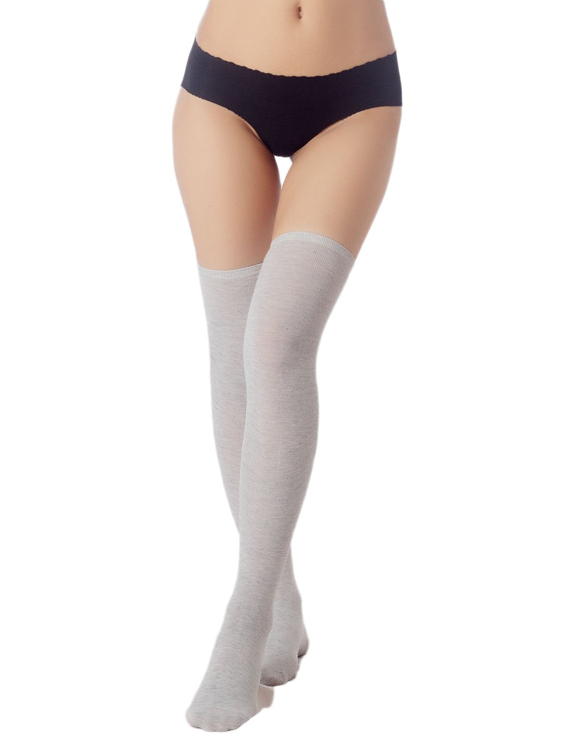 Women's Navy Stripes Sports Football Style Cute Hold-Up Thigh High Socks, Size: One Size, Light Grey