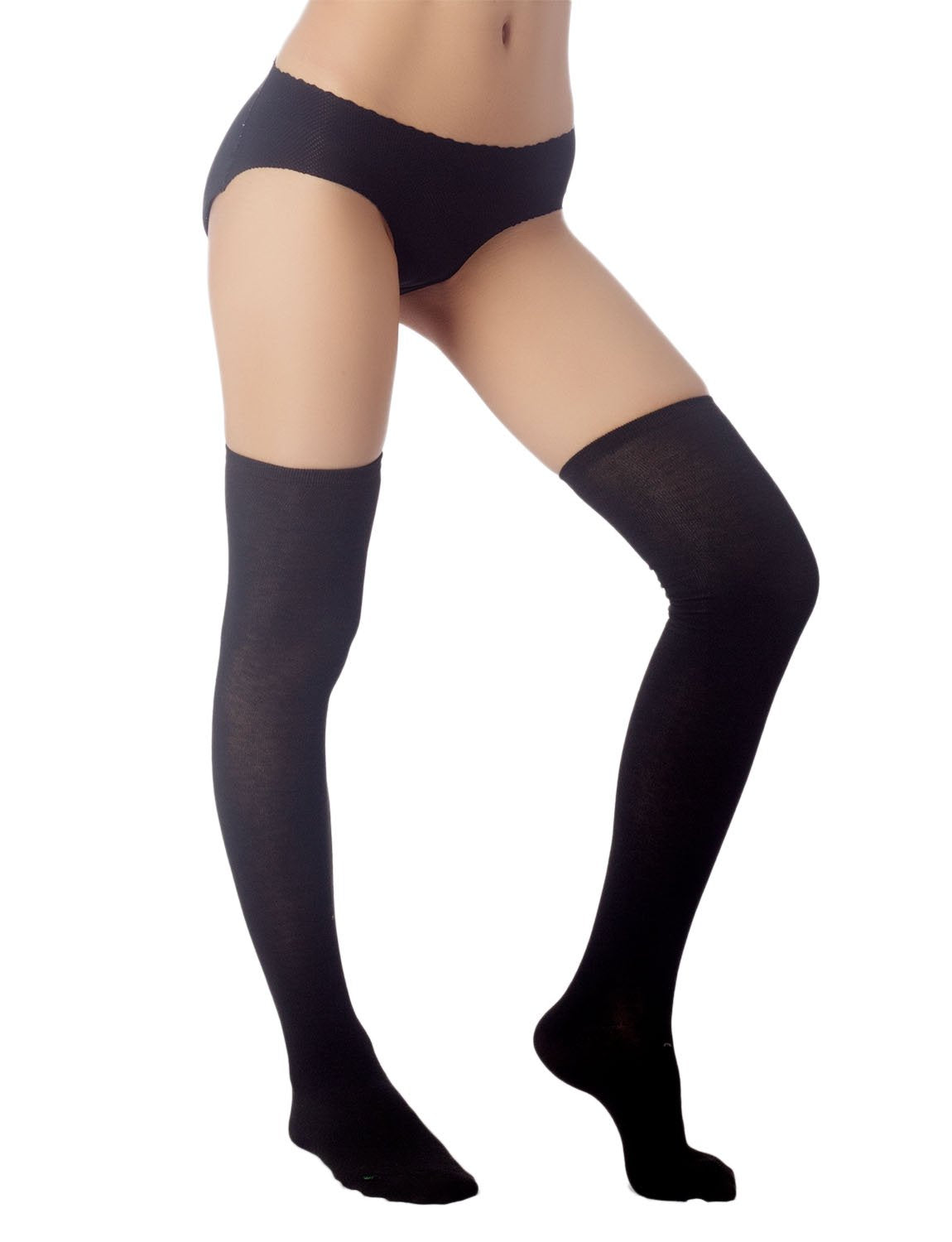 Women's Navy Stripes Sports Football Style Cute Hold-Up Thigh High Socks, Size: One Size, Sand Black