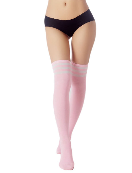 Women's Navy Stripes Sports Football Style Cute Hold-Up Thigh High Socks, Size: One Size, Light Pink