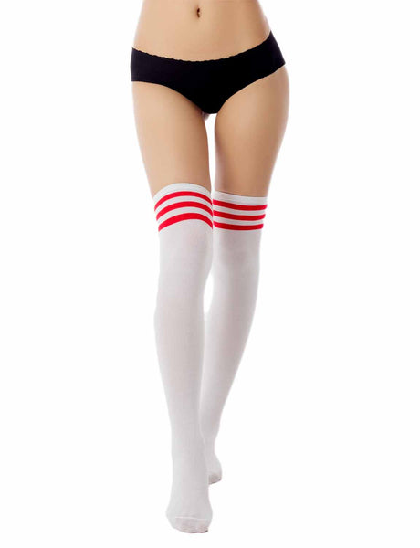Women's Navy Stripes Sports Football Style Cute Hold-Up Thigh High Socks, Size: One Size, Red