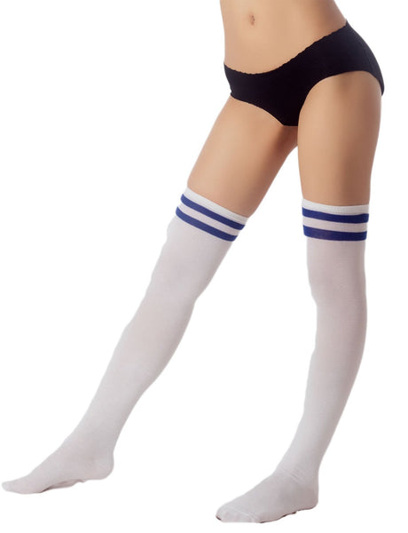 Women's Navy Stripes Sports Football Style Cute Hold-Up Thigh High Socks, Size: One Size, White & Ro