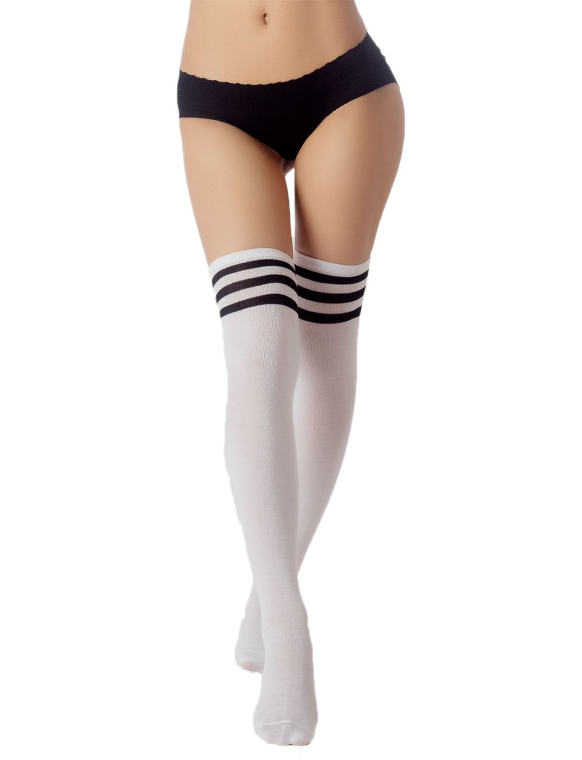 Women's Navy Stripes Sports Football Style Cute Hold-Up Thigh High Socks, Size: One Size, White & Bl
