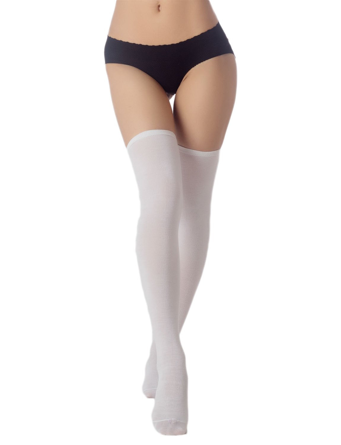 Women's Navy Stripes Sports Football Style Cute Hold-Up Thigh High Socks, Size: One Size, White