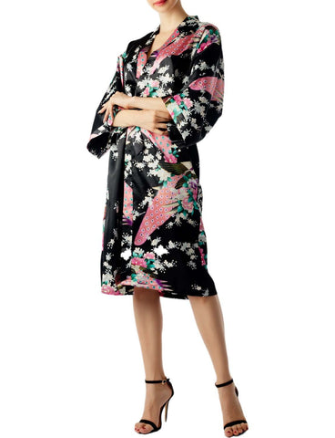 iB-iP Women's Peacock And Plum Blossom Fashion Japanese Kimono Style Midi Robe