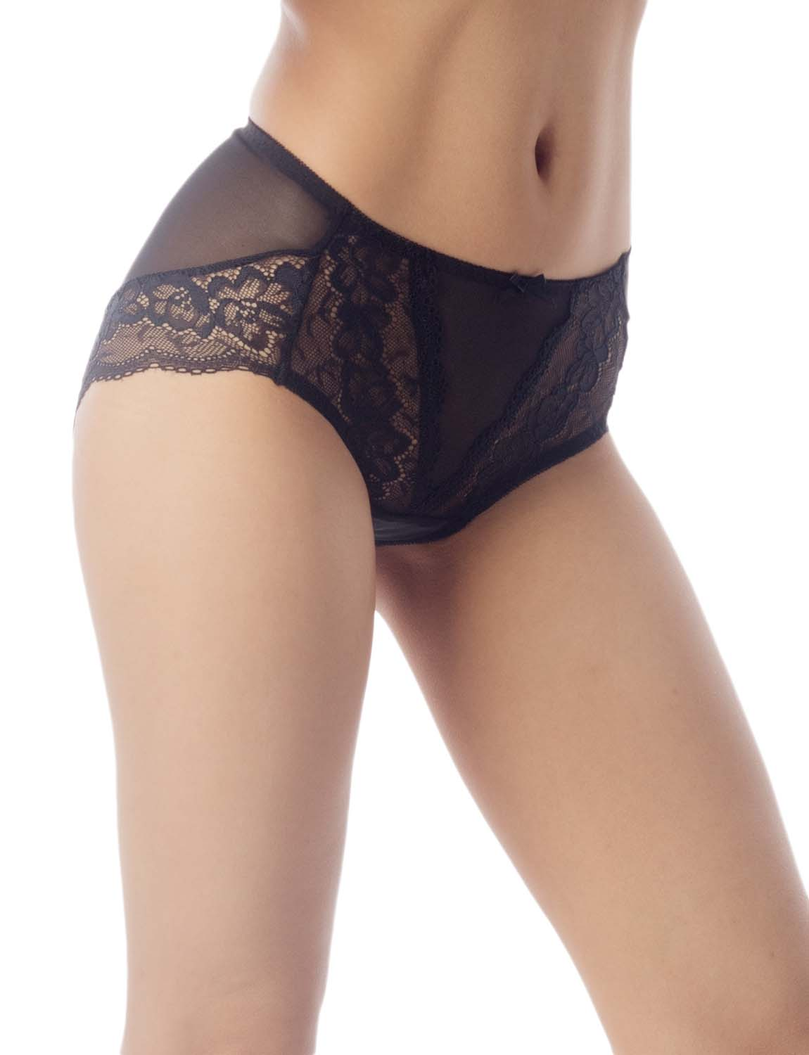 Women's Underwear Sheer Lace See-Through Bowknot Mid Waist Hipster Panty, Size: 2XL, Black