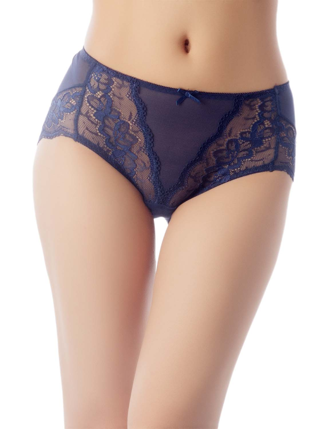 Women's Underwear Sheer Lace See-Through Bowknot Mid Waist Hipster Panty, Size: 2XL, Navy
