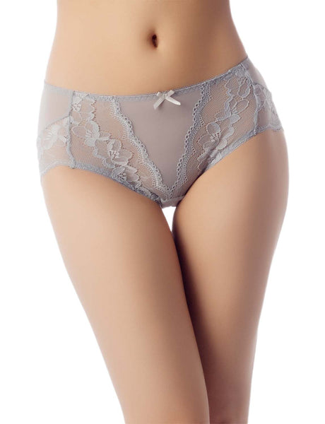 Women's Underwear Sheer Lace See-Through Bowknot Mid Waist Hipster Panty, Size: 2XL, Light Grey