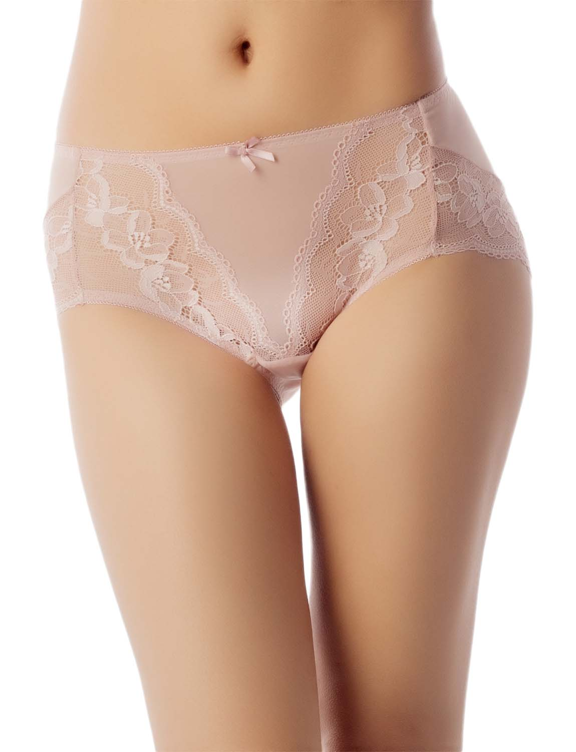 Women's Underwear Sheer Lace See-Through Bowknot Mid Waist Hipster Panty, Size: 2XL, Light Pink