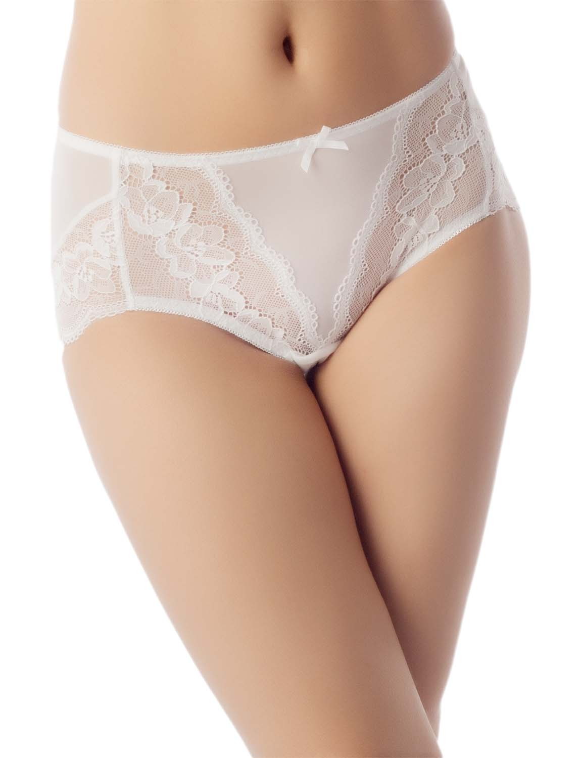 Women's Underwear Sheer Lace See-Through Bowknot Mid Waist Hipster Panty, Size: 2XL, White