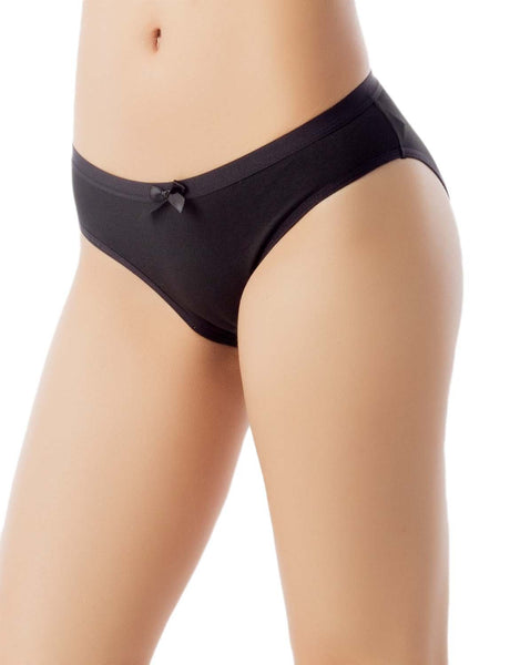 Women's Modal Briefs Underwear Soft Cotton Comfort Low Rise Bikini Panty, Size: L, Black
