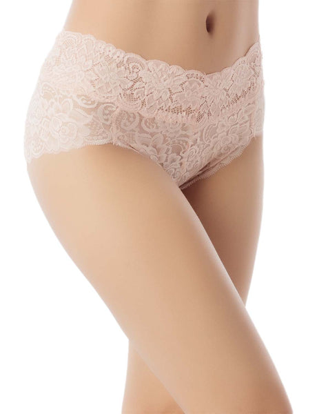 Women's Sexy Lace See-Through Knickers Hot Sheer Mid Waist Hipster Panty, Size: L, Light Yellow