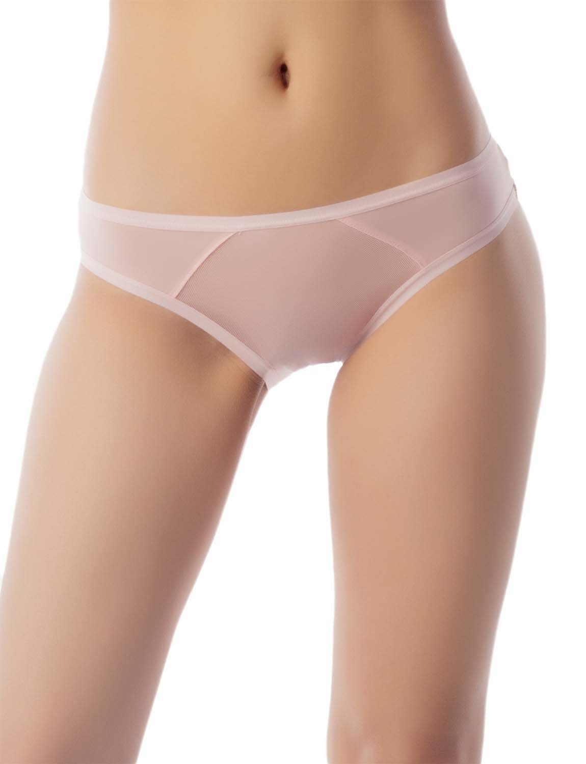 Women's Sheer See-Through Underwear Fashionable Mesh Low Rise Brief Panty, Size: M, Pink