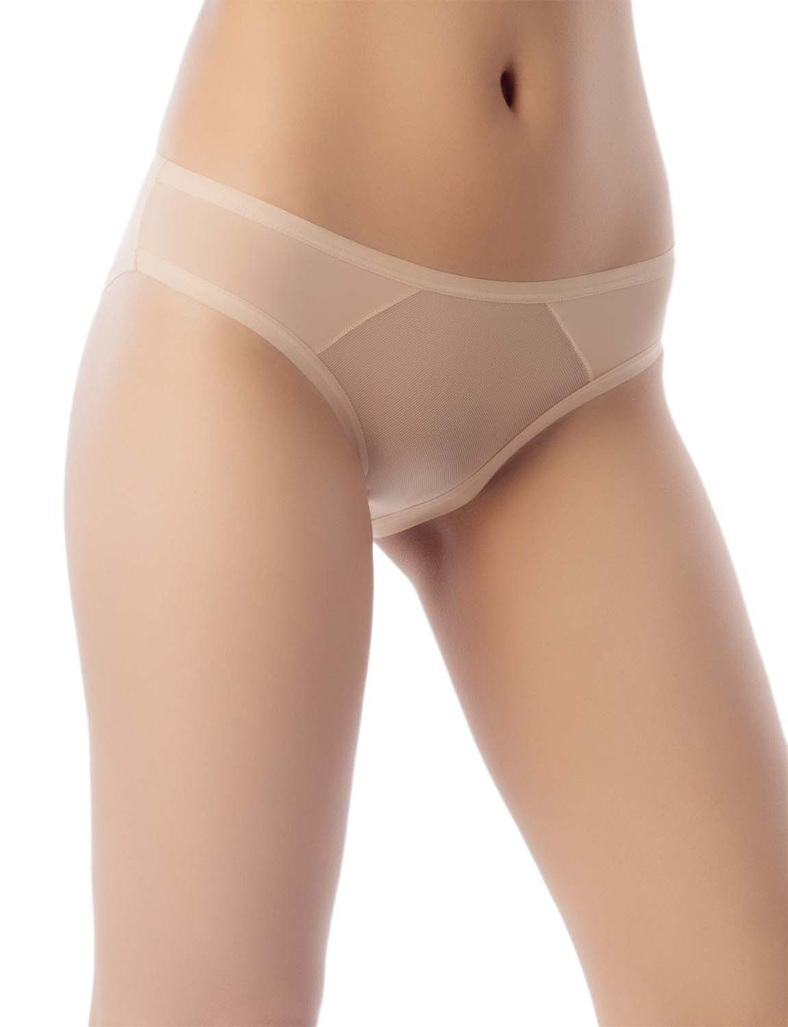 Women's Sheer See-Through Underwear Fashionable Mesh Low Rise Brief Panty, Size: M, Beige