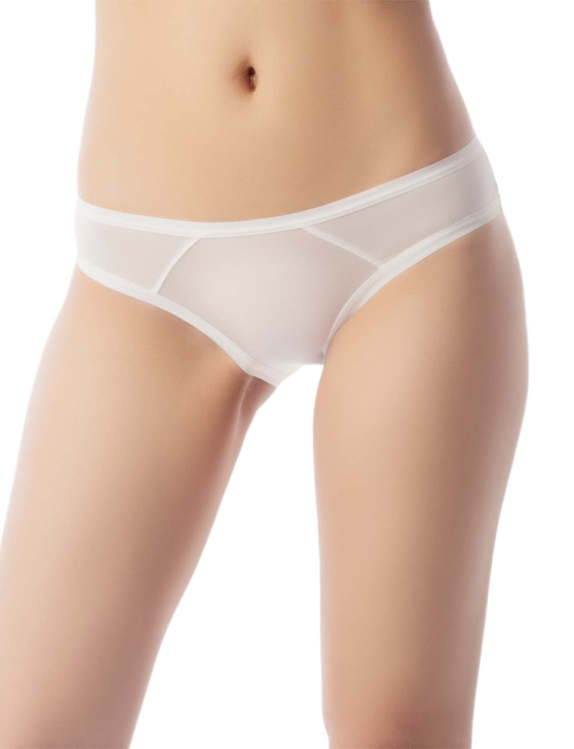 Women's Sheer See-Through Underwear Fashionable Mesh Low Rise Brief Panty, Size: M, White