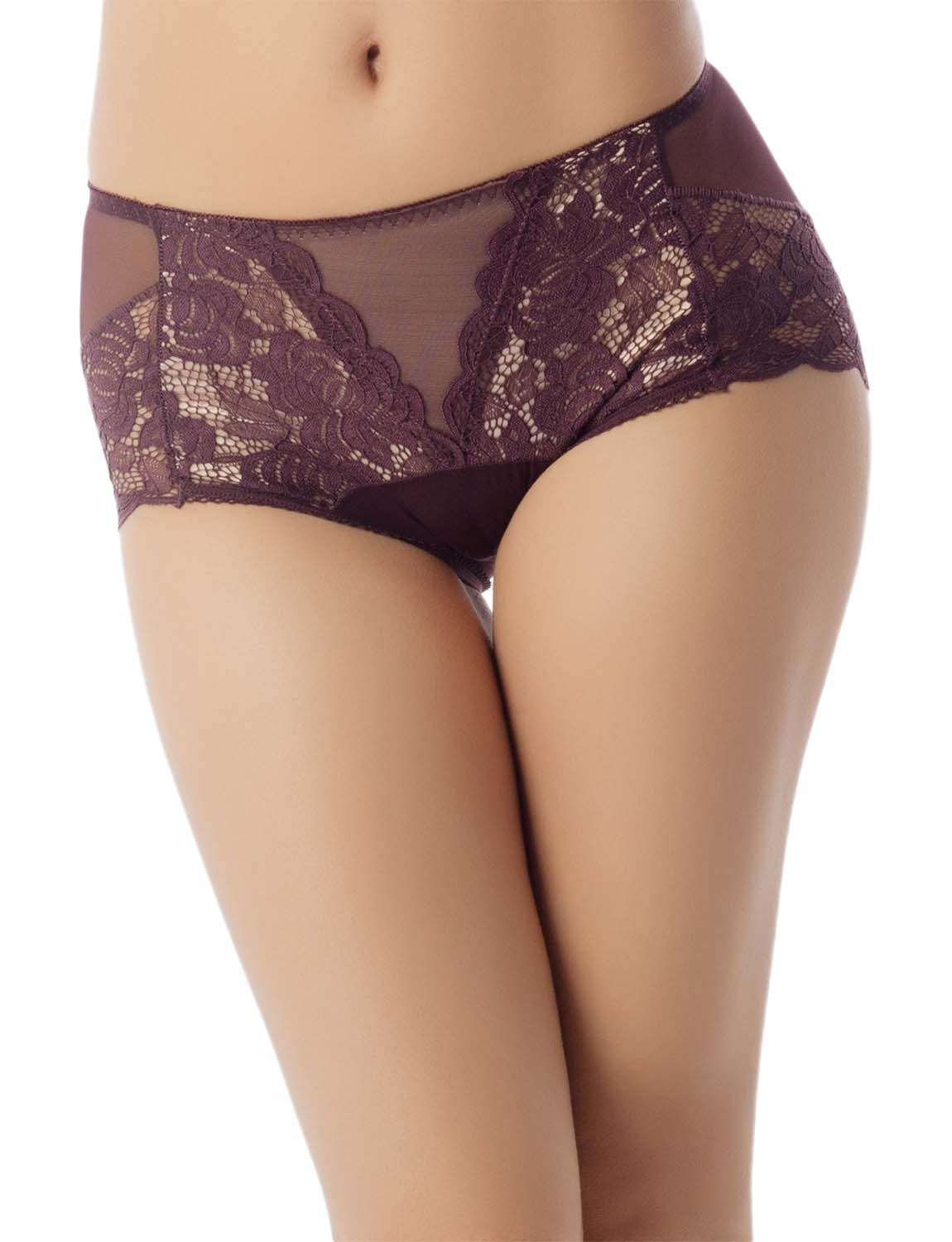 Women's Sexy Lace See-Through Hot Sheer Bare Butt Mid Waist Hipster Panty, Size: L, Dark Brown