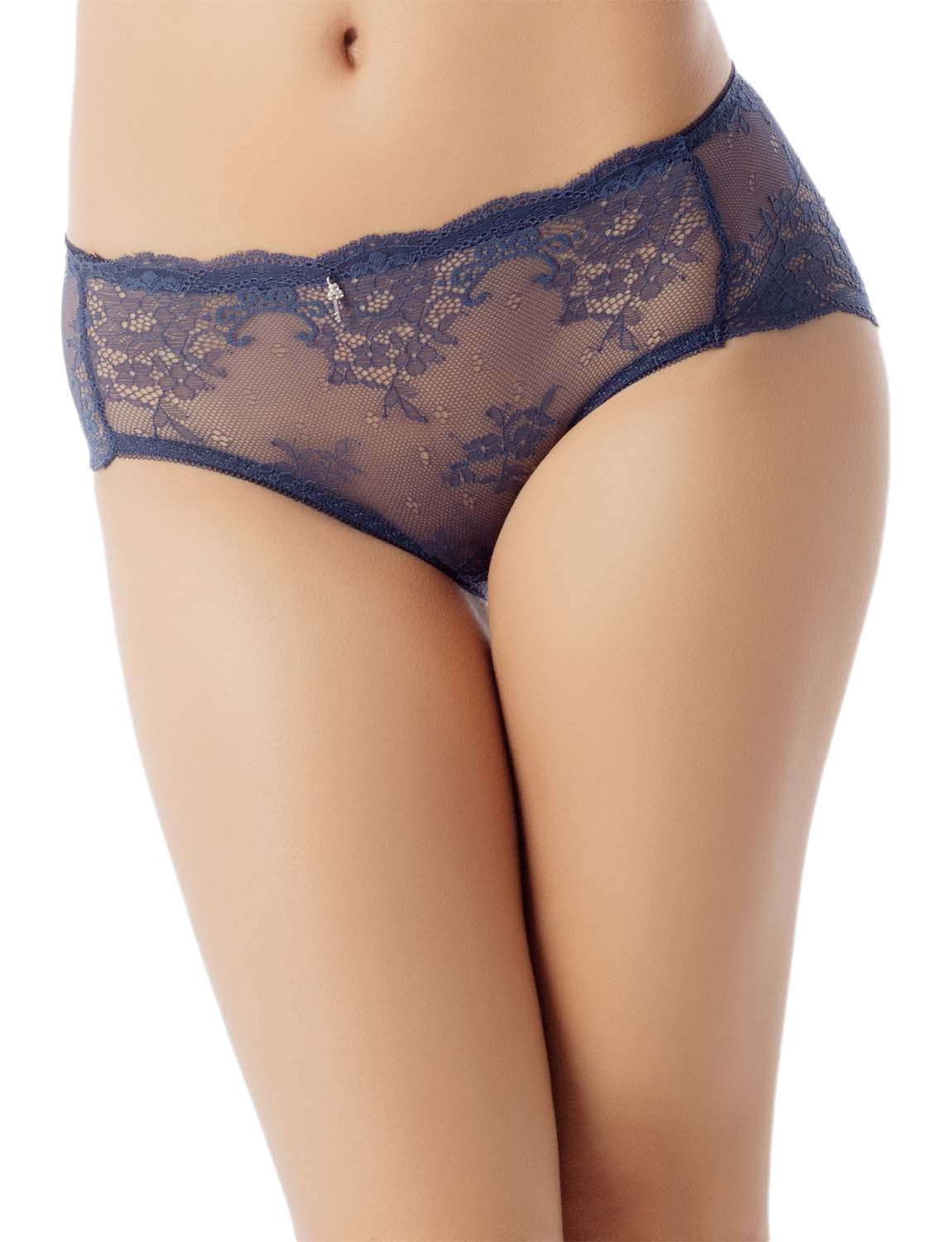 Women's Sexy Lace See-Through Hot Sheer Knickers Mid Waist Hipster Panty, Size: L, Navy