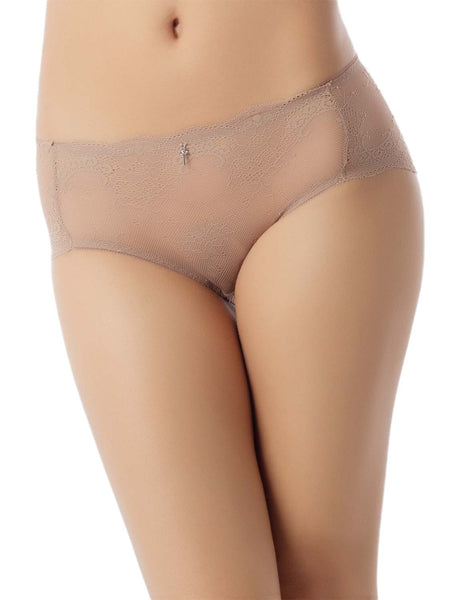 Women's Sexy Lace See-Through Hot Sheer Knickers Mid Waist Hipster Panty, Size: L, Sand
