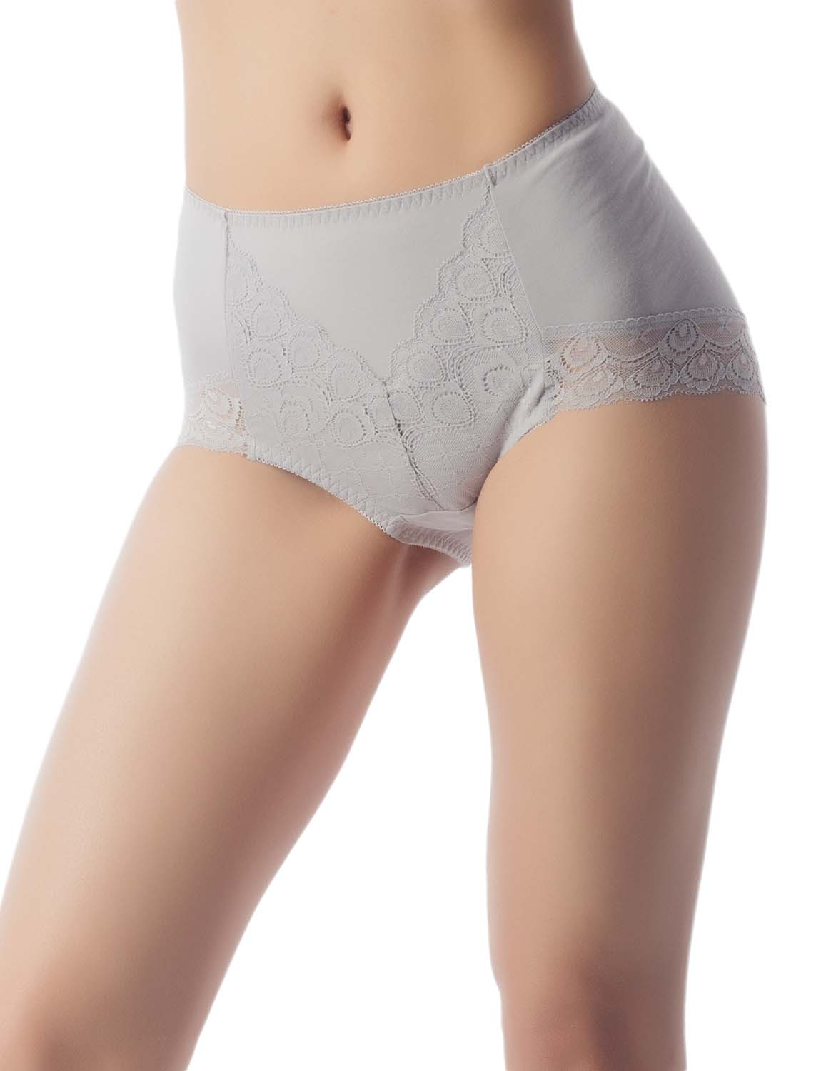 Women's Soft Modals Comfort Lace V Shape High-Cut High Waist Hipster Panty, Size: 2XL, Light Grey