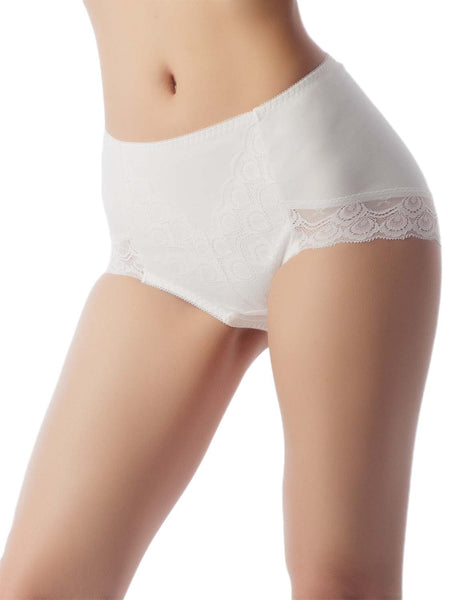 Women's Soft Modals Comfort Lace V Shape High-Cut High Waist Hipster Panty, Size: 2XL, White