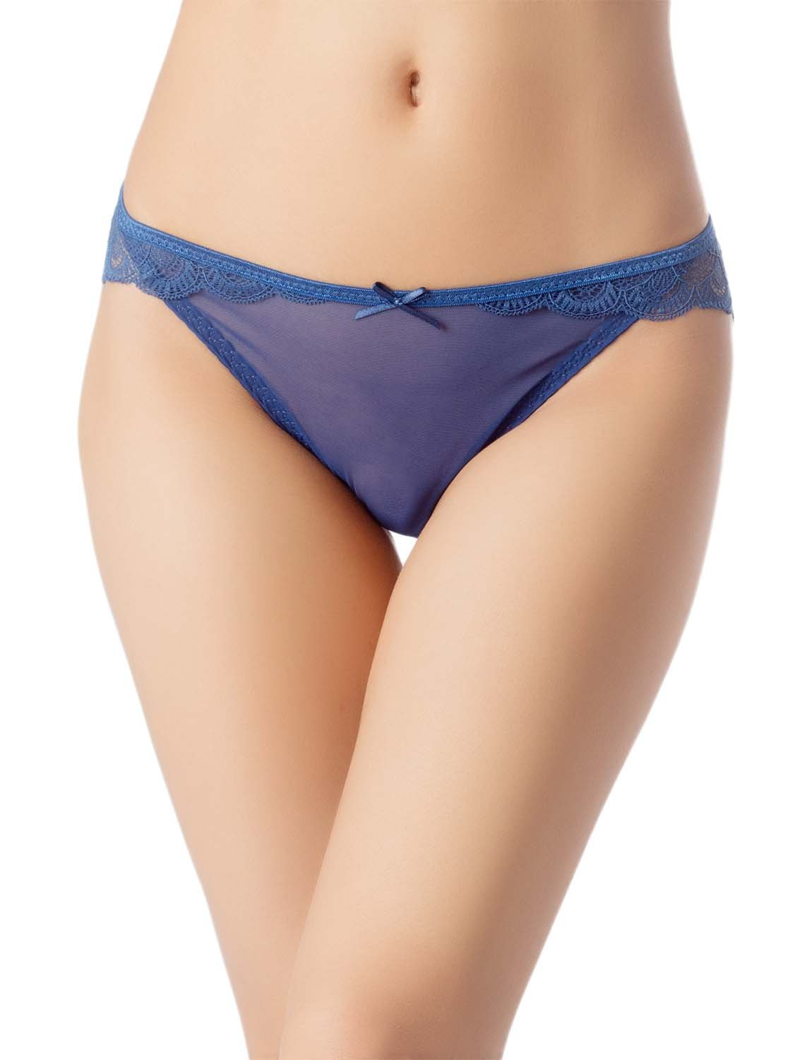Women's Cotton Layered Lace Wings Trimmed See-Through Low Rise Brief Panty, Size: L, Royal