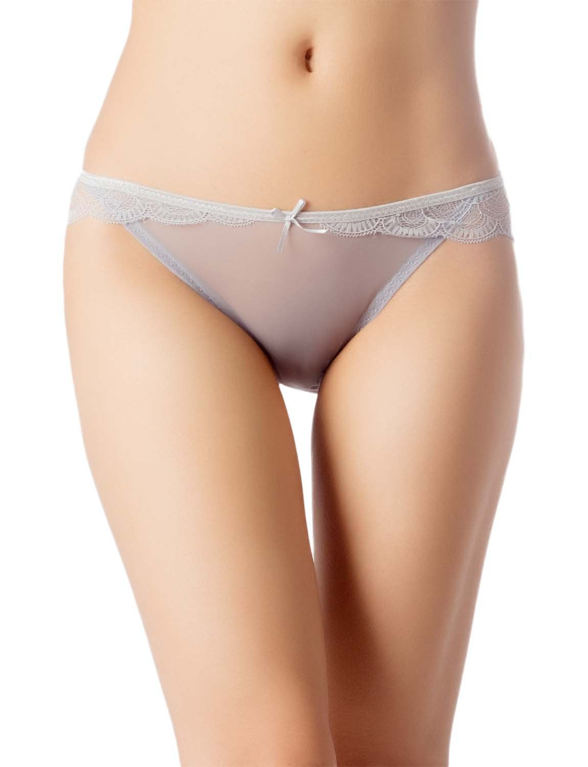 Women's Cotton Layered Lace Wings Trimmed See-Through Low Rise Brief Panty, Size: L, Light Grey