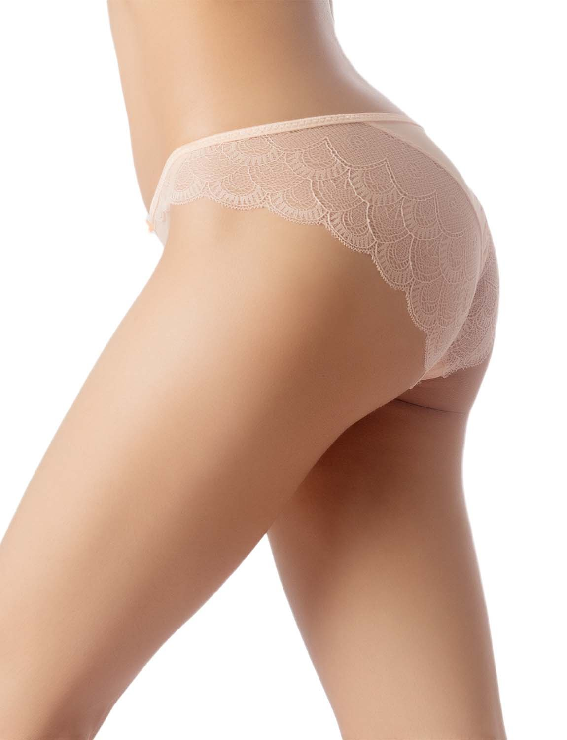 Women's Cotton Layered Lace Wings Trimmed See-Through Low Rise Brief Panty, Size: L, Light Yellow