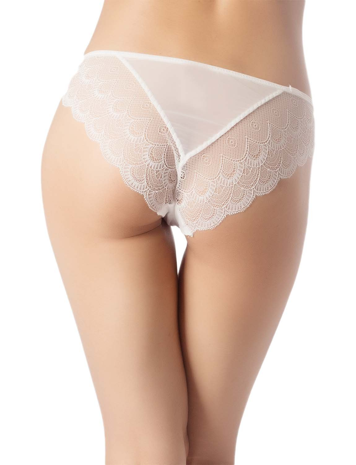 Women's Cotton Layered Lace Wings Trimmed See-Through Low Rise Brief Panty, Size: L, White