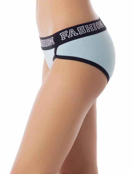 Women's Comfort Soft Cotton Sports Fashion Briefs Low Rise Hipster Panty, Size: L, Sky Blue