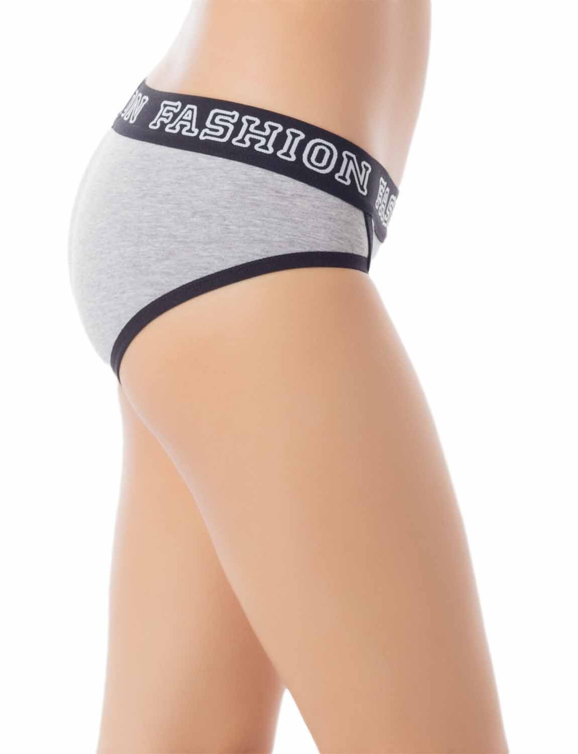 Women's Comfort Soft Cotton Sports Fashion Briefs Low Rise Hipster Panty, Size: L, Light Grey
