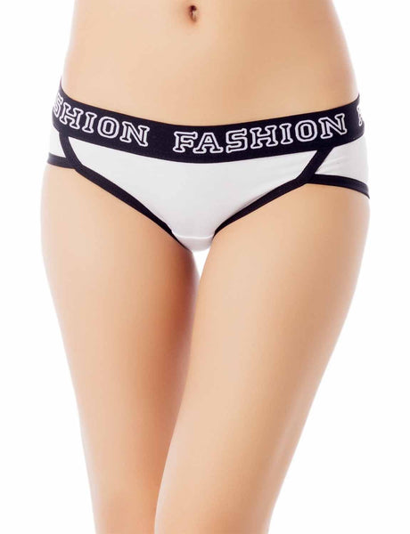 Women's Comfort Soft Cotton Sports Fashion Briefs Low Rise Hipster Panty, Size: L, White