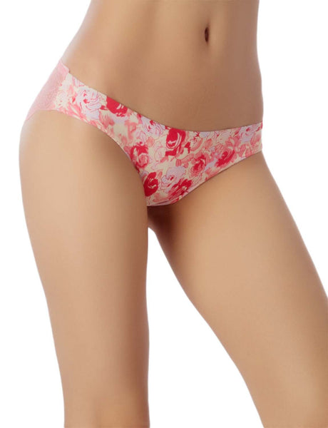 Women's Cotton Layered Leopard See-Through Lace Back Low Rise Bikini Panty, Size: XL, Pink