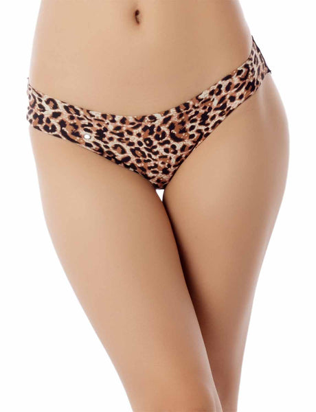Women's Cotton Layered Leopard See-Through Lace Back Low Rise Bikini Panty, Size: XL, Leopard