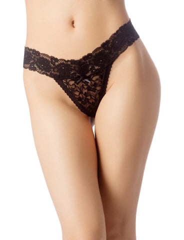 iB-iP Women's High-Cut Underwear Lace See-Through Pantie Cheeky Low Rise Thongs