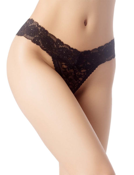 Women's High-Cut Underwear Lace See-Through Pantie Cheeky Low Rise Thongs, Size: 2XL, Black