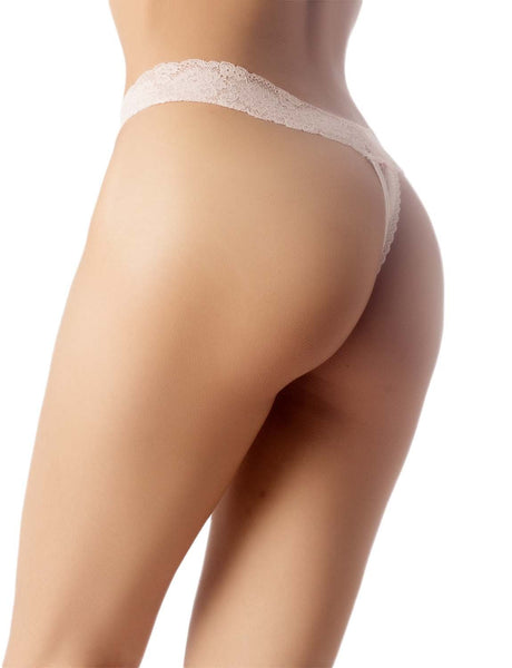 Women's High-Cut Underwear Lace See-Through Pantie Cheeky Low Rise Thongs, Size: 2XL, Light Pink