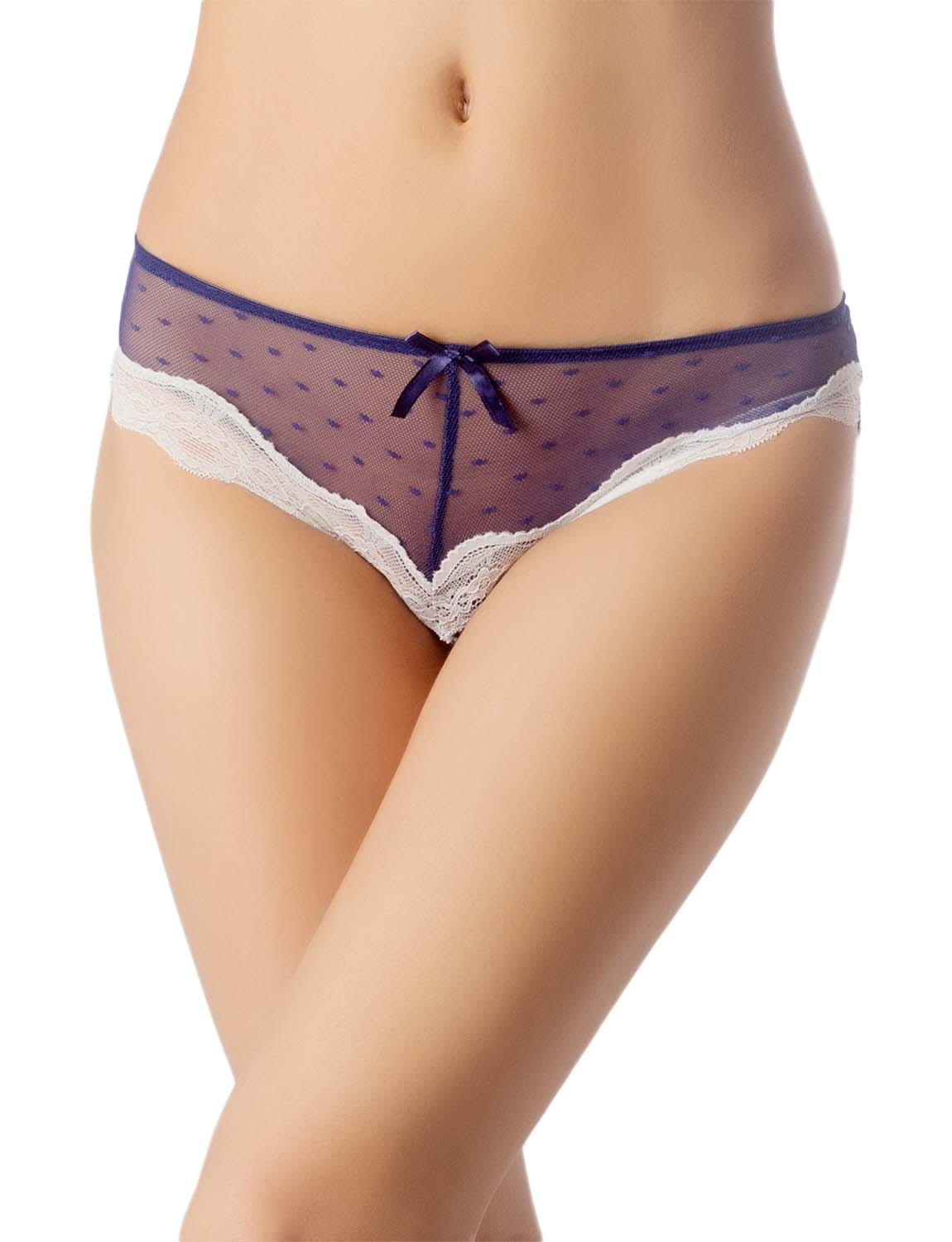 Women's Lace See-Through Mesh Breathable Underwear Low Rise Hipster Panty, Size: L, Royal