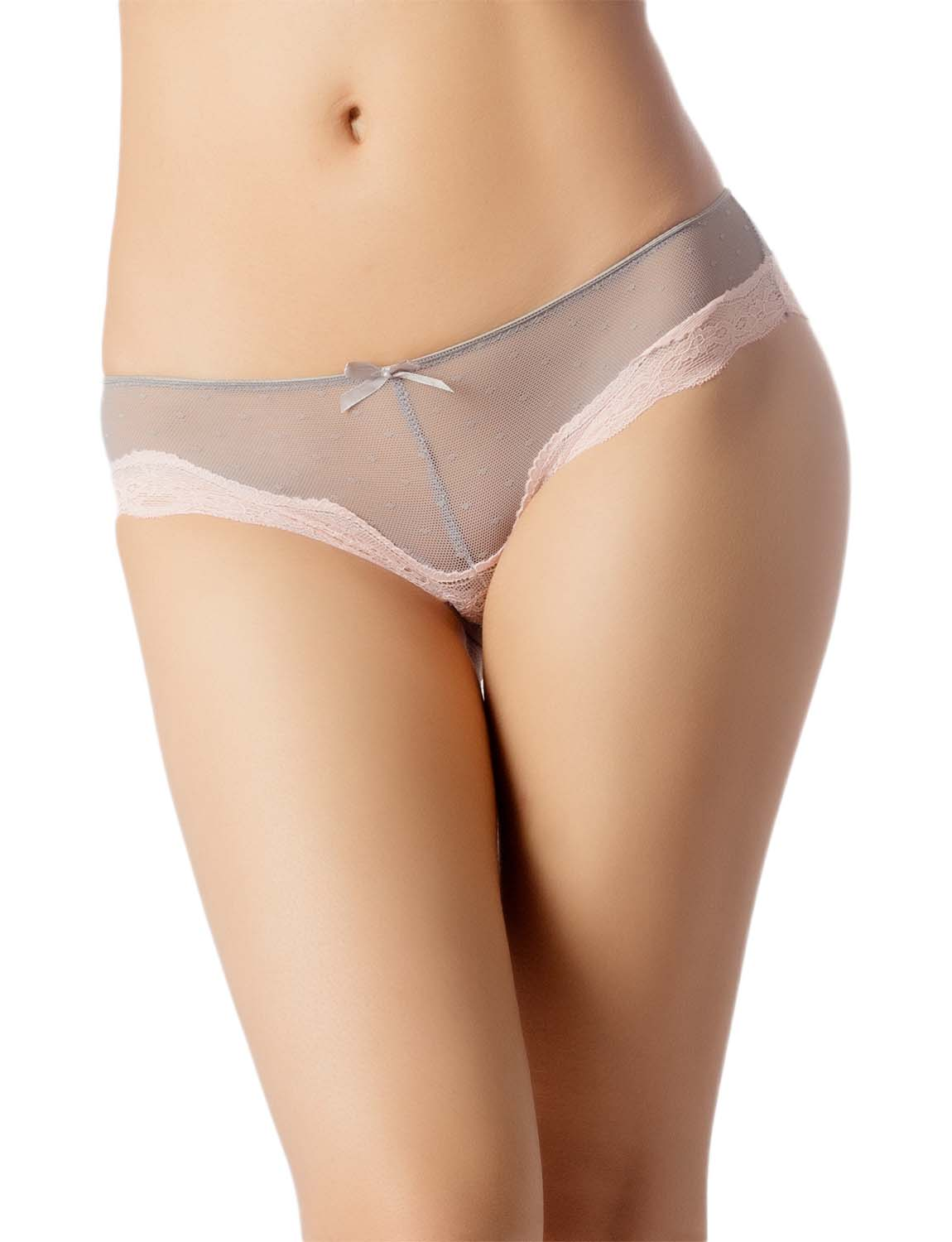 Women's Lace See-Through Mesh Breathable Underwear Low Rise Hipster Panty, Size: L, Light Grey
