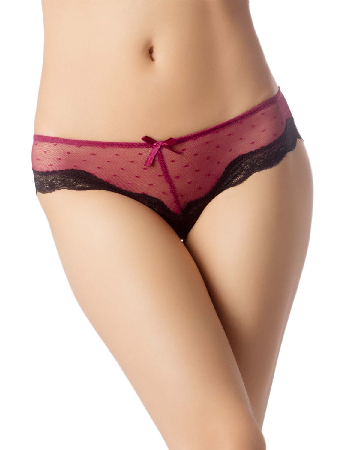 Women's Lace See-Through Mesh Breathable Underwear Low Rise Hipster Panty, Size: L, Burgundy