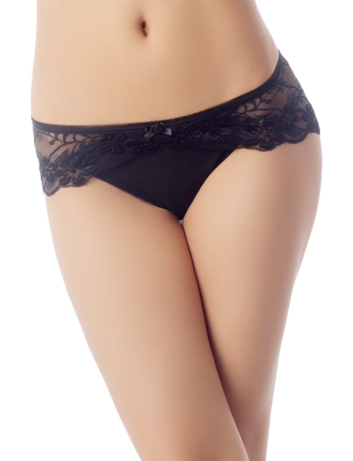 Women's Keyhole Lace Mesh See-Through Floral Winged Low Rise Hipster Panty, Size: L, Black