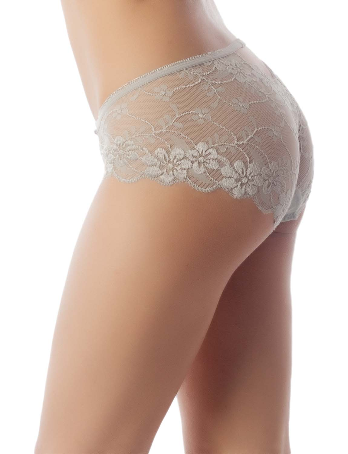 Women's Keyhole Lace Mesh See-Through Floral Winged Low Rise Hipster Panty, Size: L, Light Cool Grey
