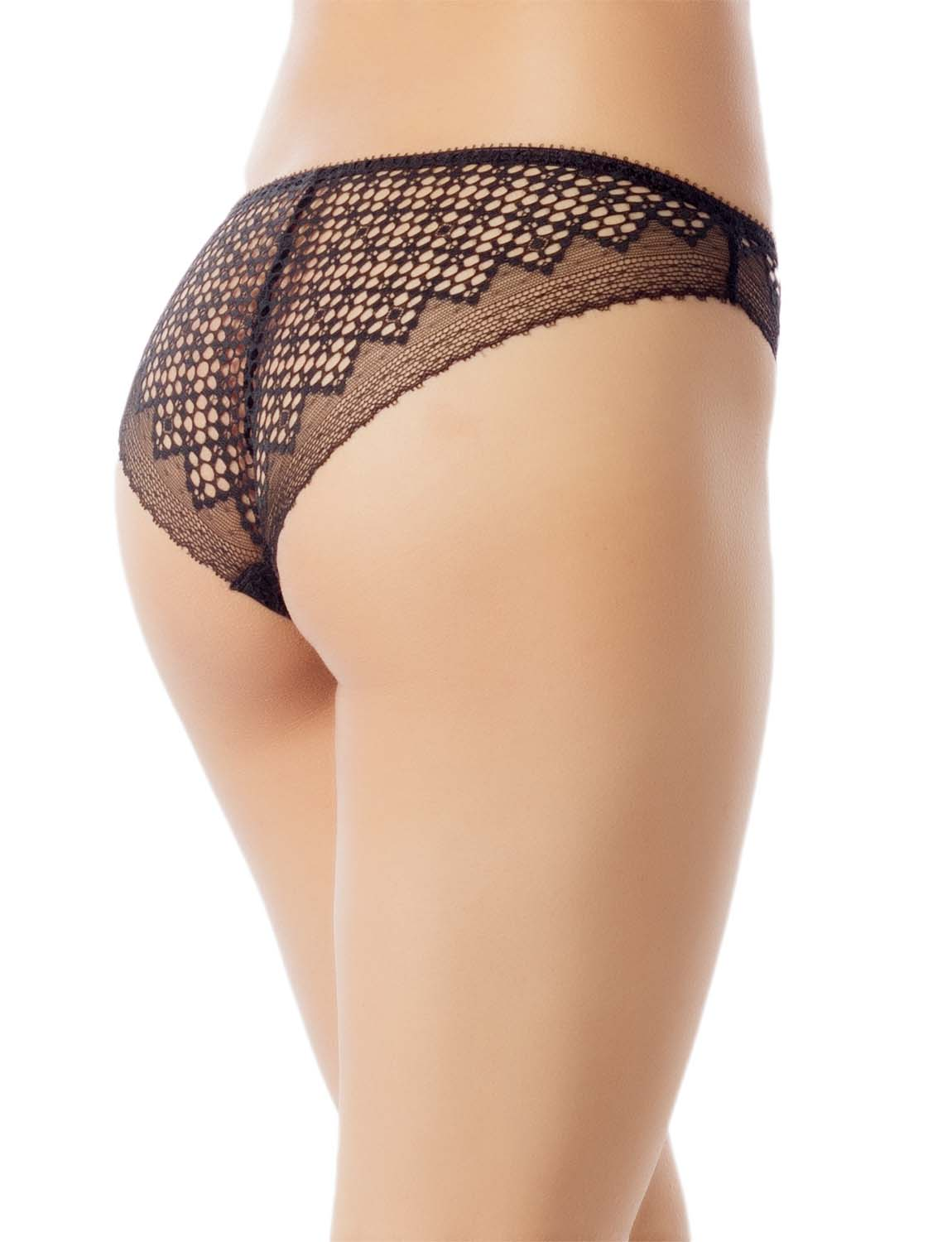 Women's See-Through Sheer Sexy Laces Cotton Comfort Low Rise Brief Panty, Size: L, Black